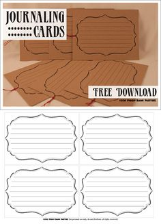 Free Printable Journaling Cards - use as labels also :)