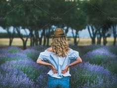 Young blond woman traveller standing in lavender field in Turkey by sonyakamoz on PhotoDune. Young blond woman traveller wearing straw hat, denim shorts and blue off-shoulder blouse standing in lavender field s. Champs, Lavender Fields, Lavender Flowers, Blog Images, Blonde Women, Woman Standing, Trends, Blue Blouse, Nature Photos