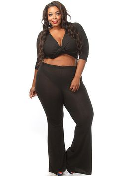 Plus Size Ribbed Twist Top Pink Clubwear, Fashion Wear, Womens Fashion, Plus Size Women, Plus Size Fashion, How To Wear, Pants, Clothes, Black