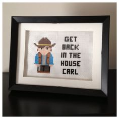 The Walking Dead Carl Cross Stitch Picture Framed