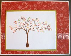 Tree colored with markers from Stampin Up's Thoughts and Prayers stamp set used on this Note Card with a CAS design.