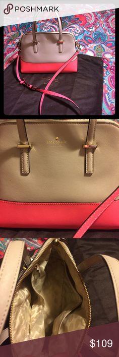Kate Spade Handbag Kate Spade ♠️ Handbag Cedar Street NWOT. This is a tan and coral pink cedar street handbag.  H 9.6 L 14 W 4.5 kate spade Bags Shoulder Bags
