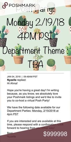 Posh Party Hiya! I am excited to announce that I will be co-hosting my 2nd posh party!  It will be Monday, 2/19/18 @ 4 PM PST. It will be a category party. The category is TBA.  I am looking forward to all the amazing host pick suggestions.        To be considered for host picks, please SHARE listings from my closet (10) and tag yourself.        Additionally tag your PFFs! I will browse their closets too.  Thank you and happy poshing! Other