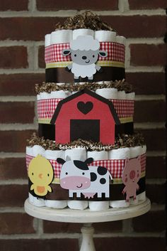 3 Tier Farm Animal Diaper cake, Farm Baby Shower, Gender Neutral Baby Shower, Boy Baby Shower, Red Brown Yellow, Barn, Pig, Cow, Chicken