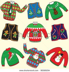 Find Ugly Christmas Sweaters Party Invitation Clip stock images in HD and millions of other royalty-free stock photos, illustrations and vectors in the Shutterstock collection. Ugly Sweater Run, Ugly Sweater Cookie, Ugly Sweater Party, Tacky Sweaters, Tacky Christmas Sweater, Felt Christmas, Christmas Crafts, Christmas Ideas, Christmas Cookies