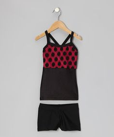 Take a look at this Red & Black Polka Dot Lace Tunic & Shorts  - Girls by Elliewear on #zulily today!