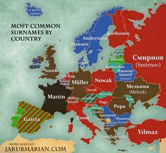 Most common surnames by country in Europe