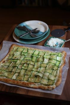 Zucchini and Goat Cheese Pizza by witandaroma #Pizza #Zucchini #Goat_Cheese