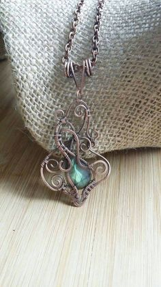 Labradorite Hammered Copper Pendant Gemstone by BlackButterflyJD
