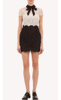 Valentino Monochrome-Block Lace Mini Dress
