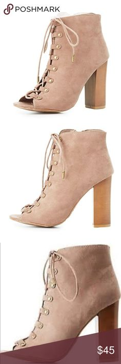 Bamboo Booties Brand new in box...These boots have a cute chunky heel that gives a boost to this fabulous faux suede bootie! Skinny shoestrings lace-up with an open toe---great with jeans or a dress💜 Shoes Lace Up Boots