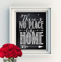 """INSTANT DOWNLOAD 8X10"""" Printable Digital art file - """"There's no place like home"""" - The Wizard of Oz - chalkboard background"""