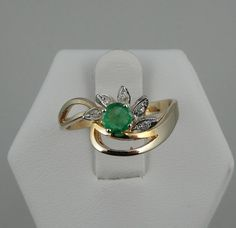 Gorgeous Natural Emerald and Diamond 14K Gold by rubylanejewelers