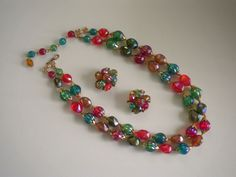 Vintage Costume Jewelry Necklace & Earring Set Vibrant Colors Hong Kong by heresthething on Etsy