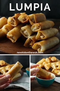 Lumpia Recipe for Filipino Egg Rolls (Lumpia - Lumpiang Shanghai) filled with ground pork or beef, onions, garlic, and carrot or cabbage Egg Roll Recipes, Pork Recipes, Asian Recipes, Mexican Food Recipes, Cooking Recipes, Budget Cooking, Budget Meals, Cooking Games, Meat Recipes
