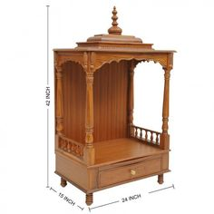 Puja ghar Wooden Temple For Home, Temple Design For Home, Temple Room, 3 Storey House Design, Woodworking Ideas Table, Mandir Design, Wood Bed Design, Pooja Mandir, Pooja Room Door Design