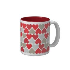 Red and Gray Hearts Pattern Love Mug => http://www.zazzle.com/red_love_mug-168266215546978351?CMPN=addthis&lang=en&rf=238590879371532555&tc=pinHTMredandgrayheartspatternmug