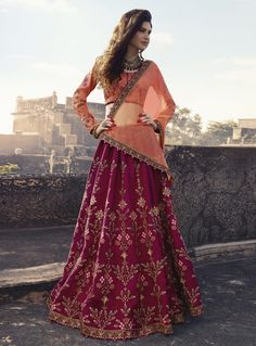 Shop Online Embroidered Art Silk Lehenga with Long Sleeve Choli. Add some luxe to your wedding ceremony with this lehenga featuring art silk fabric prettified with resham and zari embroidery work all over enhanced by stone embellishment. This lehenga is p Pink Lehenga, Lehenga Saree, Sabyasachi, Bridal Lehenga, Sarees, Lehnga Dress, Ghagra Choli, Lehenga Choli Online, Silk Dupatta