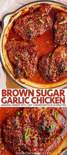 Brown Sugar Garlic Chicken is an easy skillet dinner recipe made with 3 ingredients on your stovetop or oven that will be a family FAVORITE in 30 minutes! recipes easy skillet Brown Sugar Garlic Chicken - Dinner, then Dessert Easy Skillet Dinner, Skillet Dinners, New Recipes For Dinner, Dessert For Dinner, Dinner Ideas, Easy Chicken Recipes, Easy Healthy Recipes, 3 Ingredient Chicken Recipes, Different Chicken Recipes