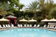 pool at Parker Palm Springs designed by Jonathan Adler Jonathan Adler, Century Hotel, Mid Century, Pool Umbrellas, Palm Springs Hotels, Parker Palm Springs, Beverly Hills Hotel, Spring Design, Greenwich Village
