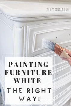 Want to paint furniture white with no brush strokes? Watch step by step how I re. - Want to paint furniture white with no brush strokes? Watch step by step how I refinish a dresser with white paint. Painting furniture white is a great. Redo Furniture, Painting Furniture Diy, Painted Furniture, Paint Dresser Diy, White Furniture, White Painted Furniture, Furniture Rehab, Painting Old Furniture, Painted Dresser