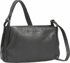 This classic adjustable strapped shoulder bag, although not large, has 2 top zippers that open wide to display plenty of room.