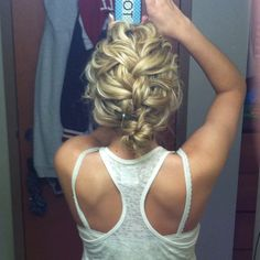 cute curly hair braid updo!