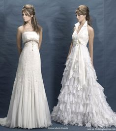 Halter neck ruffle dress, strapless wedding gown from Spanish bridal designer Inmaculada Garcia