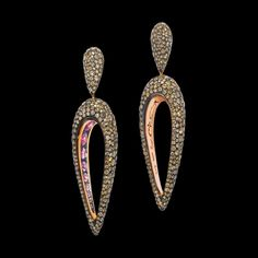 de Grisogono - Polina earrings in pink gold with brown diamonds and pink sapphires