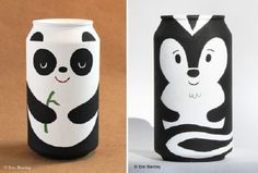 Most people toss their bottles and cans in the recycling bin, but artist Eric Barclay turns them into adorable painted packaging sculptures! Soda Can Crafts, Diy And Crafts, Arts And Crafts, Bottle Art, Bottle Crafts, Diy For Kids, Crafts For Kids, Recycling, Aluminum Cans