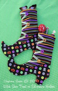 Sharon Sews: Tutorial: Sew Halloween Witch Shoe Treat Bags or Silverware Holders