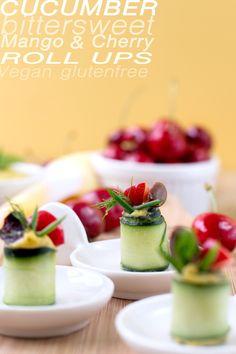 Finger Food Vegan // Senza Glutine // dietetico! Rotolini di CETRIOLI agrodolci, crema di MANGO, CILIEGIE e olive. Sano e buono!Con versione RAW inclusa e tabella nutrizionale| #Vegan #glutenfree light and healthy appetizer! CUCUMBER, MANGO puree, CHERRY, Olives and chickpeas! Can be #raw // delicious