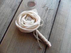 Sola Rose Collection Bout  Rustic Boutonniere by RusticSweethearts