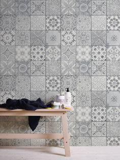 Wir lieben grau! Du auch? A.S. Création Vliestapete 362053 Flooring, Tile Art Projects, Sweet Home, Bathroom Design, Tile Floor, Wall, Home Decor