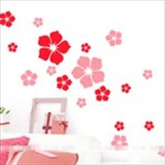 Colorful Adhesive Decorative Stickers for Wall Desk Bedroom Window - Flower Pattern
