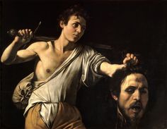 """""""David with the head of Goliath"""" c.1607 by Caravaggio (Milan 1571-Porto 1610). Oil on wood (91cmx117cm). Kunsthistorisches Museum, Vienna. I Samuel 17:57: """"When David came back after killing the Philistine, Abner took him and presented him to Saul with the Philistine's head still in his hand."""" Caravaggio had a noteworthy ability to express in one scene of unsurpassed vividness the passing of a crucial moment. He made the 'chiaroscuro' definitive."""