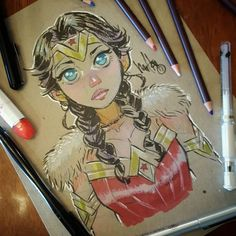 #wonderwoman #challenge number 28 done on chipboard .. almost there 2 to go... #sketch #drawing #markers #coloredpencils #practice #draw #ink #artnfly #bigeyes #braids #themyscira #amazonwoman #instaart #characterdesign #artistsoninstagram .. krep on keepin on!