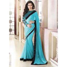 Designer Party Wear Embroidered Georgette Monalisa Bollywood Replica Ferozi Saree - 15227 ( ML - 882 )