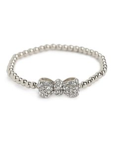 Delight in the utter charm of this sweet style. Not only does it feature a pretty set of glistening beads, but theres an adorable (and glitzy) pavé-covered bow, too.