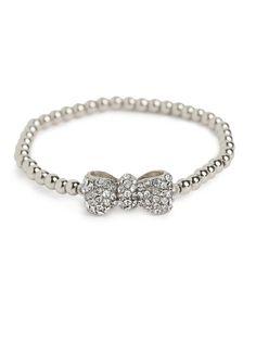 Silver Bow Bead Bracelet