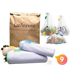 Reusable Produce Bags Lavinrose Reusable Mesh Produce Bags with Drawstring Tare Weight Tags Durable Overlock-Stitched Strength See-Through Washable Storage Bags Set of 24 Appliances Tea-Espresso Appliances Machines Espresso Machines Décor Flora Plants Plastic Bag Storage, Eco Store, Alternative To Plastic Bags, Produce Bags, Work Bags, Reusable Grocery Bags, Kids Bags, Kirchen, Large Bags