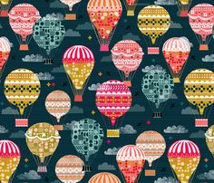 Hot Air Balloons - Vintage Retro-Inspired designs by Andrea Lauren
