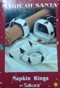 Sakura Debbie Mumm Magic Of Santa Napkin Rings Set 4 in Box Christmas Tree  | eBay