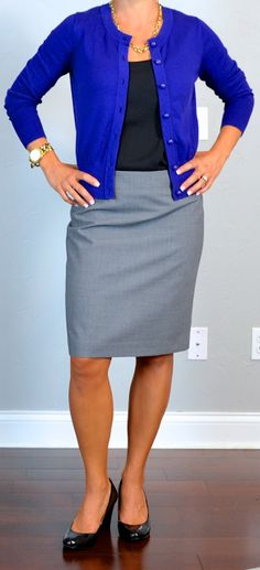 outfit post: purple cardigan, black camisole, grey pencil skirt, black wedges