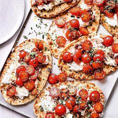 Let's go with the toasted flatbread and roasted vitamin rich cherry tomatoes on a couple of dabs of ricotta. Serve with a large green salad and dinner is ready!  Pic @waitrose