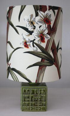 khaki poole pottery retro lamp