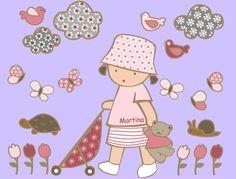 Vinilos infantiles: Niña con cochecito - Vinilo de corte. Piezas que componen la colección: Niña con osito y cochecito, 3 nubes, 3 pájaros, 6 mariposas, 6 tulipanes, 1 tortuga y 1 caracol. Altura de la niña: 52 cm.