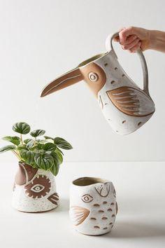Slide View: Knotwork LA Toucan Watering Can Ceramic Pottery, Ceramic Art, Ceramic Pitcher, Ceramic Planters, Pottery Art, Industrial Design Furniture, Tadelakt, Decoration Inspiration, Decor Ideas