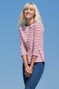 stripe boat neck 3/4