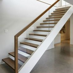glass + wood railing at open stair treads // Dunrobin Shore by Christopher Simmonds Architect Wood Railing, Staircase Railings, Glass Railing, Wood Stairs, Stair Treads, Open Stairs, Glass Stairs, Entry Stairs, House Stairs